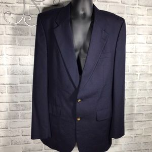 Burberry Two Button Blazer Wool Long Classic Notch